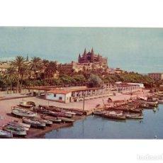Postales: PALMA.(MALLORCA).- LA CATEDRAL Y LA LONJA DESDE CANTINA DE PESCADORES.. Lote 191492477
