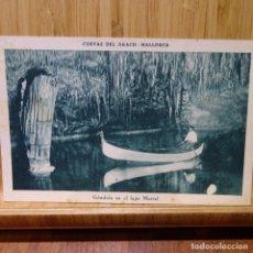 Postales: POSTAL DE CUEVAS DE DRACH.MALLORCA.GONDOLA EN EL LAGO MARTEL.CLISE SERVERA.. Lote 194250400