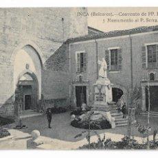 Postales: INCA - CONVENTO DE PADRES FRANCISCANOS Y MONUMENTO AL PADRE SERRA - P30000. Lote 194644290