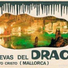 Postales: PORTO CRISTO (MALLORCA), CUEVAS DEL DRACH, CARPETA CON UNA TIRA DE 10 POSTALES. Lote 196103435