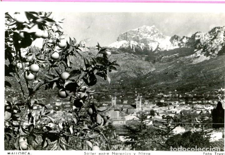 MALLORCA SOLLER ENTRE NARANJOS Y NIEVE S/C EDIC.- TRUYOL CIRCULADA (VER DORSO) AÑO 1954 (Postales - España - Baleares Moderna (desde 1.940))