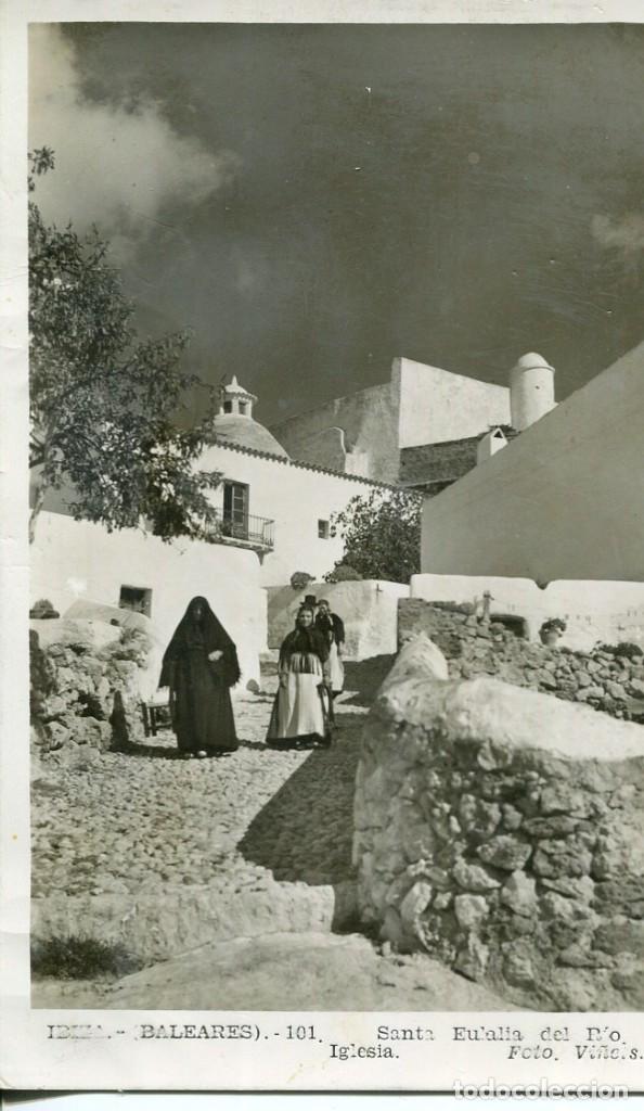 IBIZA- SANTA EULALIA DEL RIO-IGLESIA-PAGESAS--FOTOGRÁFICA VIÑETS (Postales - España - Baleares Moderna (desde 1.940))