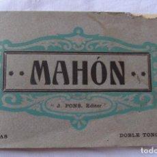 Postales: BLOC 20 VISTAS DE MAHON, MAÓ. MENORCA. J. PONS EDITOR. DOBLE TONO AZUL. 9 X 15 CM. Lote 206356091