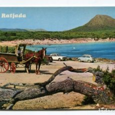 Postales: MALLORCA CALA RATJADA 1968 CALA GUYA PLANAS Nº1416 CABALLO SEAT 600. Lote 206456713