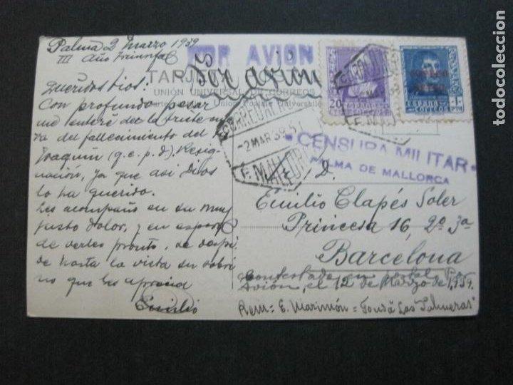 Postales: MALLORCA-VAPOR REY JAIME I-MATASELLO CENSURA MILITAR-POR AVION-FOTOGRAFICA-POSTAL ANTIGUA-(72.628) - Foto 2 - 210788235