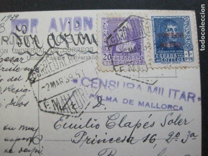 Postales: MALLORCA-VAPOR REY JAIME I-MATASELLO CENSURA MILITAR-POR AVION-FOTOGRAFICA-POSTAL ANTIGUA-(72.628) - Foto 4 - 210788235