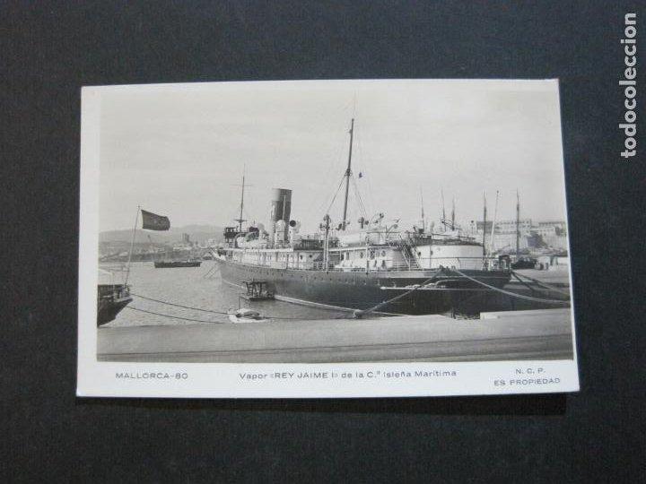 MALLORCA-VAPOR REY JAIME I-MATASELLO CENSURA MILITAR-POR AVION-FOTOGRAFICA-POSTAL ANTIGUA-(72.628) (Postales - España - Baleares Antigua (hasta 1939))