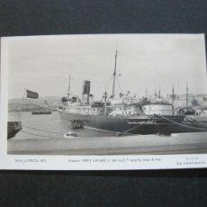 Postales: MALLORCA-VAPOR REY JAIME I-MATASELLO CENSURA MILITAR-POR AVION-FOTOGRAFICA-POSTAL ANTIGUA-(72.628). Lote 210788235