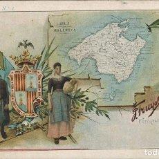 "Postales: MAPA ISLA DE MALLORCA. COLECCIÓN ""REGIONAL"", SERIE 2ª, Nº 1. J. TRUYOL FOTÓGRAFO. CIRCULADA 1903. Lote 210976110"
