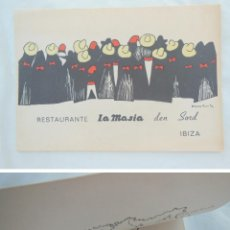 Cartes Postales: ANTIGUA TARJETA : RESTAURANTE LA MASIA DEN SORD, IBIZA. ILUSTRA NIEVES PUENTE. Lote 212610132