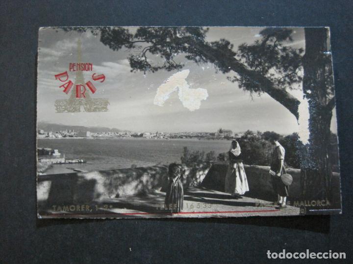 PALMA DE MALLORCA-PUERTO-PUBLICIDAD PENSION PARIS-POSTAL ANTIGUA-(73.408) (Postales - España - Baleares Antigua (hasta 1939))