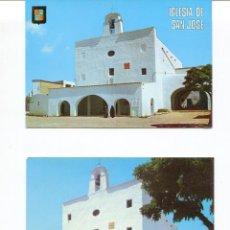 Postales: LOTE 2 POSTALES IBIZA-SANTA EULALIA DEL RÍO-IGLESIA PUIG DE MISA- AÑOS 1960-70. Lote 217510208