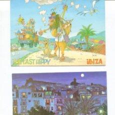 Postales: LOTE 2 POSTALES IBIZA-ILUSTRADAS HIPPIS- AÑOS 1960-70. Lote 217510636
