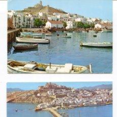Postales: LOTE 2 POSTALES IBIZA-VISTA PARCIAL -VAPOR PASAJEROS- AÑOS 1960-70. Lote 217528292