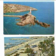 Postales: LOTE 2 POSTALES IBIZA-SAN ANTONIO PUERTO -FARO BOTAFOCH- AÑOS 1960-70. Lote 217528481