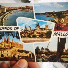 Postales: POSTAL MALLORCA PALMA PASEO MARÍTIMO PLAYA CALAMAYOR MOLINOS DE ES JONQUET LA CATEDRAL PUERTO Y CATE. Lote 218018215