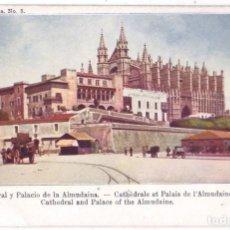 Postales: PALMA DE MALLORCA: CATEDRAL Y PALACIO. COL. REGIONAL. SIN DIVIDIR. NO CIRCULADA (ANTERIOR A 1905). Lote 218999597