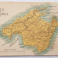 Postales: 213-ANTIGUA POSTAL SIN CIRCULAR, MAPA DE LA ISLA DE MALLORCA (VER FOTOS). Lote 219913257