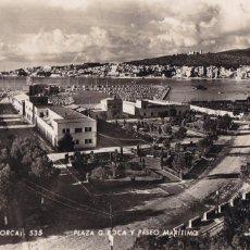 Postales: PALMA DE MALLORCA PLAZA G. ROCA Y PASEO MARITIMO. ED. ZERKOWITZ Nº 535. CIRCULADA. Lote 221594565