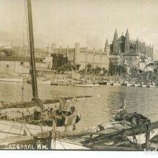 Postales: PALMA DE MALLORCA-VISTA PARCIAL-CATEDRAL- PUERTO BARCAS PESCADORES-FOTOGRÁFICA AÑO 1925- MUY RARA. Lote 224374037