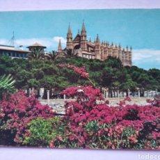 Postales: POSTAL MALLORCA BALEARES PALMA LA CATEDRAL DESDE EL DESEMBARCADERO AÑO 1960. Lote 225589005