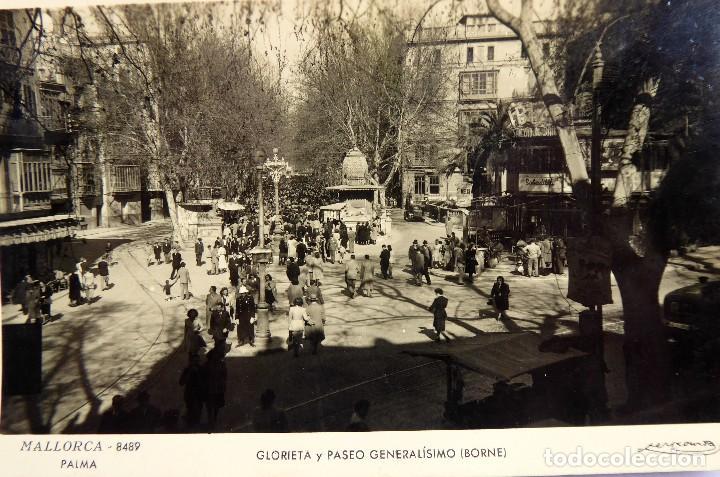 P-12062. PALMA DE MALLORCA. GLORIETA Y PASEO GENERALÍSIMO (BORNE). FOTO ZERKOWITZ. NO CIRCULADA. (Postales - España - Baleares Moderna (desde 1.940))