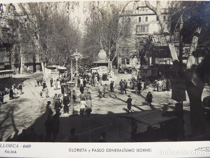 Postales: P-12062. PALMA DE MALLORCA. GLORIETA Y PASEO GENERALÍSIMO (BORNE). FOTO ZERKOWITZ. NO CIRCULADA. - Foto 2 - 230454920