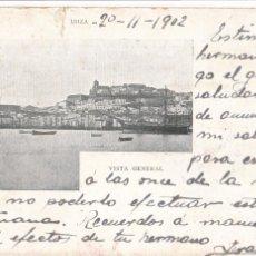 Postales: IBIZA, VISTA GENERAL. ED. JOSE TOUS PALMA Nº 7. REVERSO SIN DIVIDIR CIRCULADA. SIGLO XIX VER REVERSO. Lote 235152330