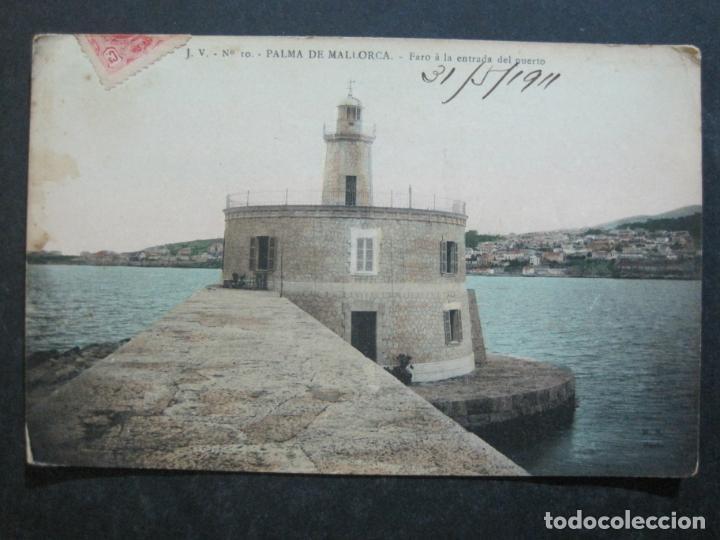 Postales: PALMA DE MALLORCA-FARO A LA ENTRADA DEL PUERTO-J.V. 10-POSTAL ANTIGUA-(77.012) - Foto 2 - 236446530