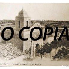 Postales: POSTAL VILLA CARLOS -ES CASTELL- PARROQUIA NTRA. SEÑORA DEL ROSARIO (ENVIADA EN 1914).. Lote 237096900