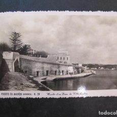 Postales: MENORCA-PUERTO DE MAHON-MUELLE DE PONS DE VILLA CARLOS-FOTOGRAFICA ROTGER-39-POSTAL ANTIGUA-(77.690). Lote 243662485