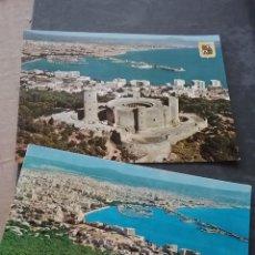 Postales: 2 POSTALES VISTA CASRILLO BELLVER Y PUERTO DE PALMA ( MALLORCA) AÑOS 60 (380-4)). Lote 254943310