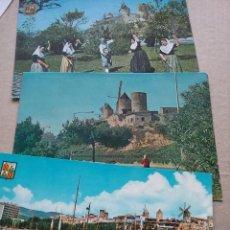 Postales: 3 POSTALES BARRIO ES JONQUERA. MOLINOS. PALMA MALLORCA AÑOS 60 (381-1). Lote 254944390