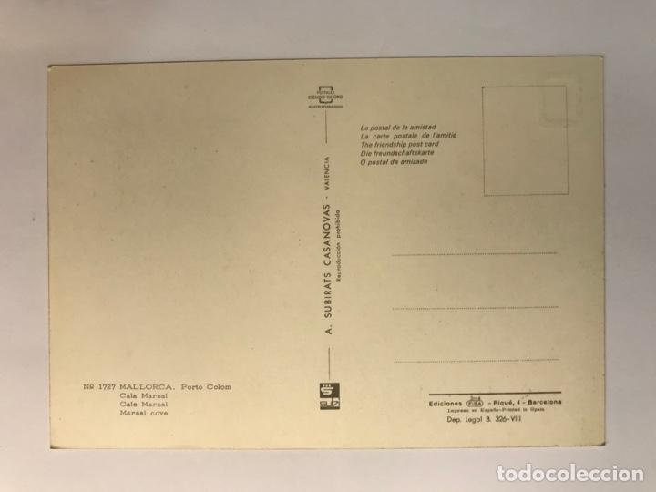 Postales: MALLORCA, Porto Colom. Postal VESPA No.1727, Cala Marsal, Escudo de Oro. Subirats Casanova - Foto 2 - 262825745