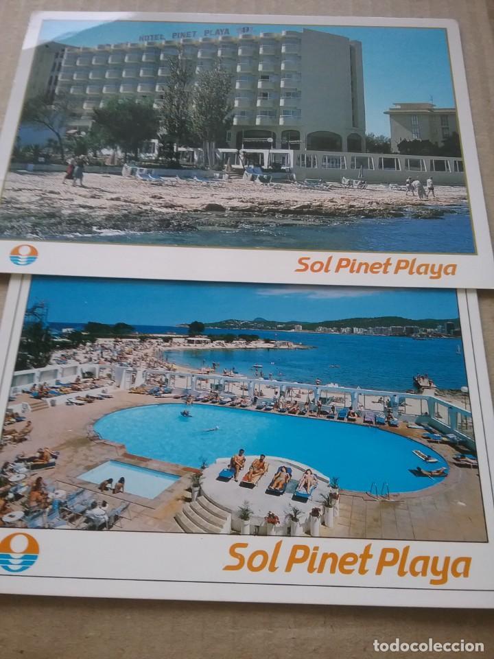 2 POSTALES PUBLICIDAD HOTEL PINET PLAYA. SAN ANTONIO. IBIZA. (464-3) (Postales - España - Baleares Moderna (desde 1.940))