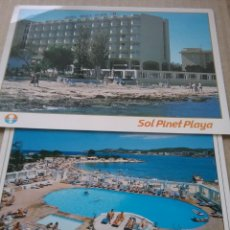 Postales: 2 POSTALES PUBLICIDAD HOTEL PINET PLAYA. SAN ANTONIO. IBIZA. (464-3). Lote 269298208
