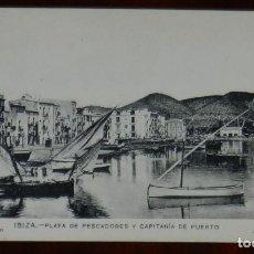 Postales: ANTIGUA POSTAL DE IBIZA. PLAYA DE PESCADORES Y CAPITANIA DE PUERTO. F. HERNÁNDEZ FOTÓGRAFO. J. TARRÉ. Lote 269340373