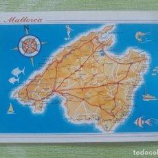 Postales: ISLA DE MALLORCA - BALEARES - MAPA 1989. Lote 273251728