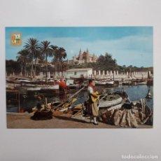 Postales: POSTAL MUELLE DE PESCADORES Y CATEDRAL. MALLORCA (BALEARES). 1962 SIN ESCRIBIR. SUBIRATS Nº 1423. Lote 277591043