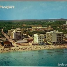 Postales: MALLORCA, CAN PICAFORT VISTA PARCIAL AÉREA. CASA PLANAS CIRC H 1970. Lote 287176613