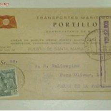 Postales: TARJETA POSTAL DE TRANSPORTES MARITIMOS PORTILLO CON MATASELLOS E ITINERARIO Y DESTINO. Lote 13974475