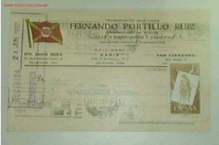 TARJETA POSTAL DE TRANSPORTES MARITIMOS PORTILLO CON MATASELLOS E ITINERARIO Y DESTINO (Postales - Postales Temáticas - Barcos)