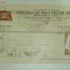 Postales: TARJETA POSTAL DE TRANSPORTES MARITIMOS PORTILLO CON MATASELLOS E ITINERARIO Y DESTINO. Lote 11334548
