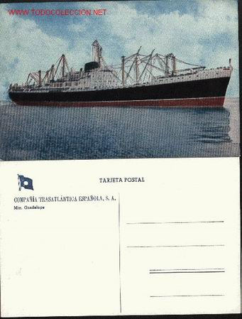 TRASATLANTICO GUADALUPE. COMPAÑÍA TRASATLÁNTICA ESPAÑOLA, S.A. (Postales - Postales Temáticas - Barcos)