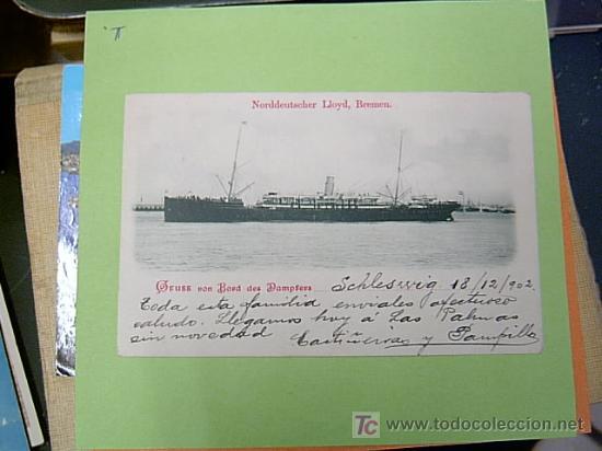 POSTAL BARCO - DELA NORDDEUTSCHER LLOYD BREMEN , SIN NOMBRE VISIBLE CIRCULADA 1902 (Postales - Postales Temáticas - Barcos)