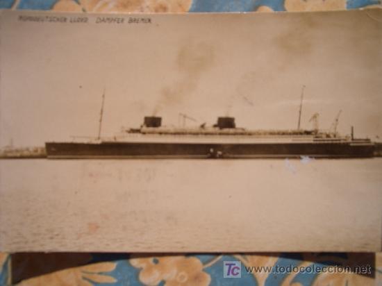 FOTO POSTAL CIRCULADA 1930 BARCO TRANSATLANTICO NORDDEUTSCHER LLOYD DAMPFER BREMEN 1 (Postales - Postales Temáticas - Barcos)