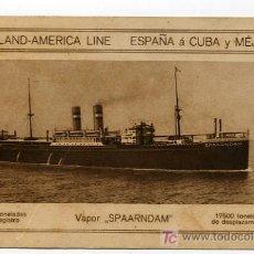 Postales: POSTAL HOLLAND-AMERICA LINE, DE ESPAÑA A CUBA Y MEJICO, VAPOR SPAARNDAM.. Lote 23112577