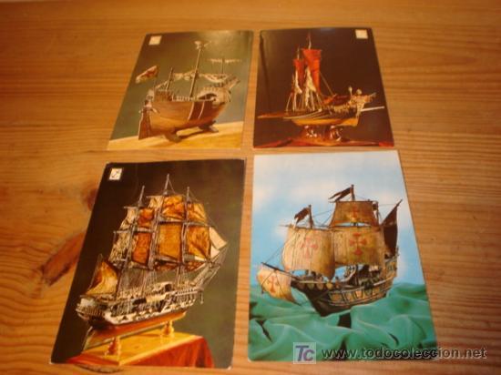 4 POSTALES DE MAQUETAS DE BARCOS (Postales - Postales Temáticas - Barcos)