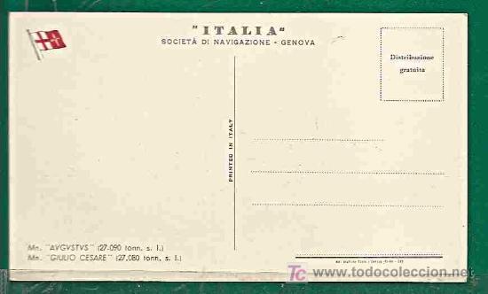 Postales: POSTAL BARCOS - SOCIETA DI NAVIGAZIONE -GENOVA- Mn. AUGUSTUS -LINEA EXPRESSO MEDITERRANEO a BRAZIL - Foto 2 - 24829326