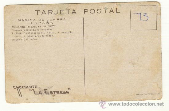 Postales: DOS TARJETAS POSTALES DE MARINA DE GUERRA ESPAÑA CRUCERO ALMIRANTE CERVERA Y CRUCERO MENDEZ NUÑEZ. - Foto 3 - 25377580